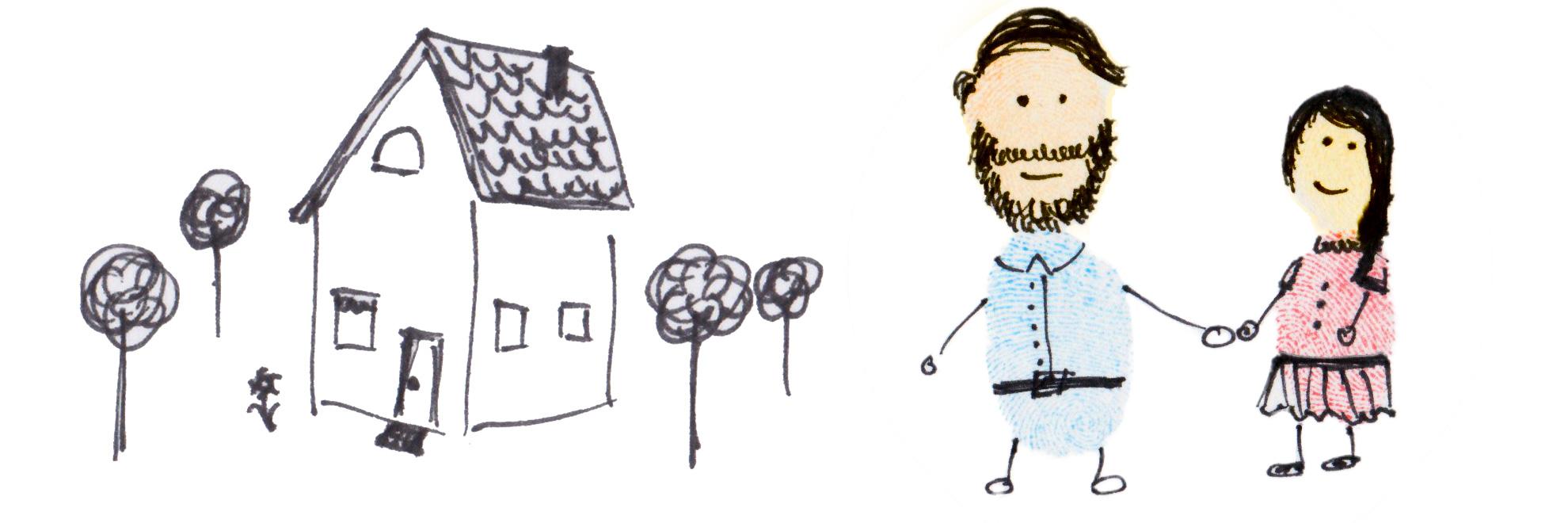 Helge und Rieke vor ihrem Haus